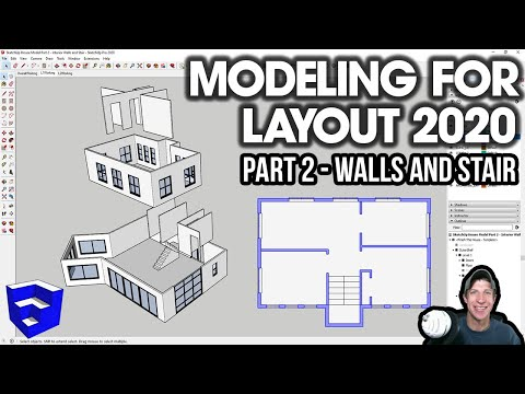 HOUSE MODELING In SketchUp 2020 Part 2 - Interior Walls And Stairs