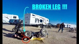 DRINKING AND RACING PIT BIKES ENDS IN BROKEN LEG!!!(DO NOT ATTEMPT)