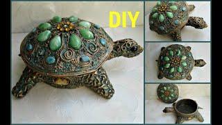 Из подручного материала шкатулка-черепаха