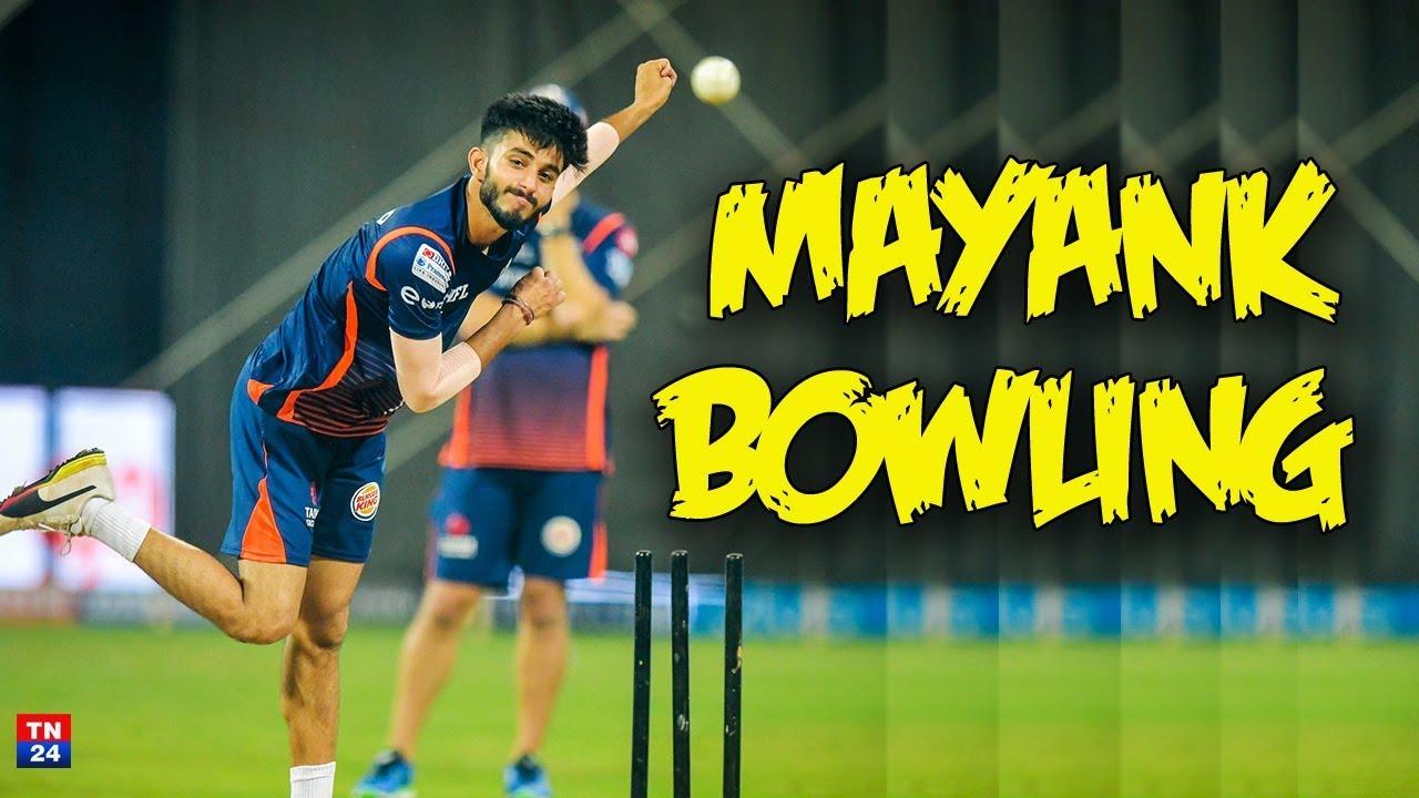 mayank markande bowling action slow motion - YouTube