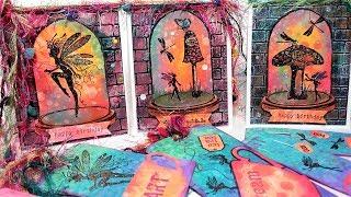 Fun Fairy Terrarium Cards! Oxide Inks on a Gel Plate, Glitter & More!