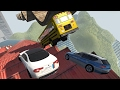 Death Falls School Bus, Car, And Truck Crash Tests! - BeamNG Drive Crashes Gameplay Highlights
