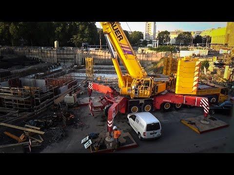Terex AC 500-2 montiert Wolff 7534.8 Baukran auf Stuttgart 21 Baustelle | 31.08.16| #S21