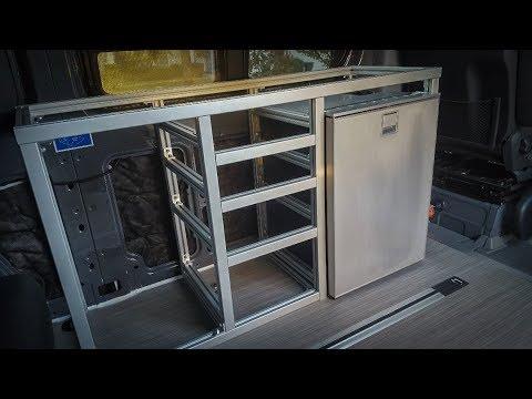 Extruded aluminum galley framing  DIY Sprinter camper van