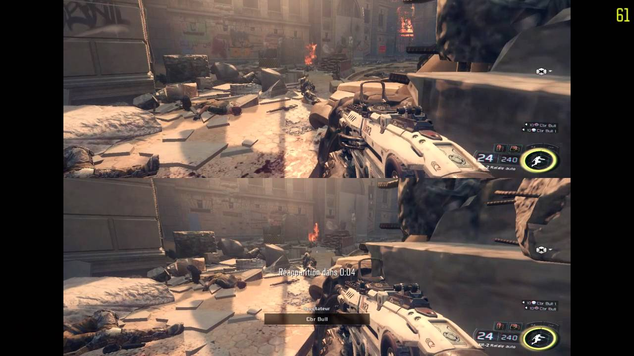 Call Of Duty Black Ops 3 mode écran scindé joué par le fiston et son collègue.