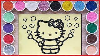 TÔ MÀU TRANH CÁT MÈO KITTY ĂN KẸO TRÁI TIM - Sand painting Kitty eat candy (Chim Xinh)