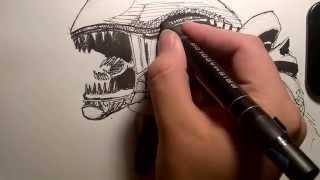 Simple Xenomorph Drawings 6