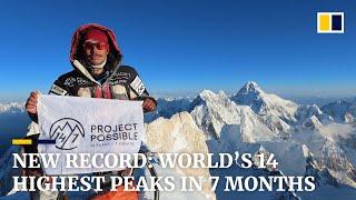 Nepalese man breaks record for scaling world's 14 highest peaks