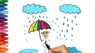 How to draw and color a rain and kid | How to Draw and Color Kids TV