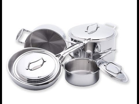 USA Pan Cookware 5-Ply Stainless Steel 8 Piece Cookware Set,Made in the USA
