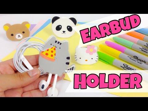 EASY,KAWAII CRAFTS:earbud holder (Rilakkuma,Pusheen,Hello Kitty and Panda bear)