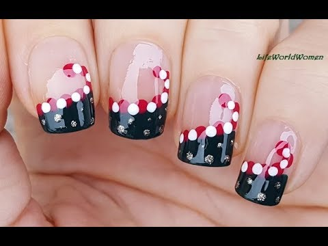 CHRISTMAS FRENCH MANICURE NAIL ART