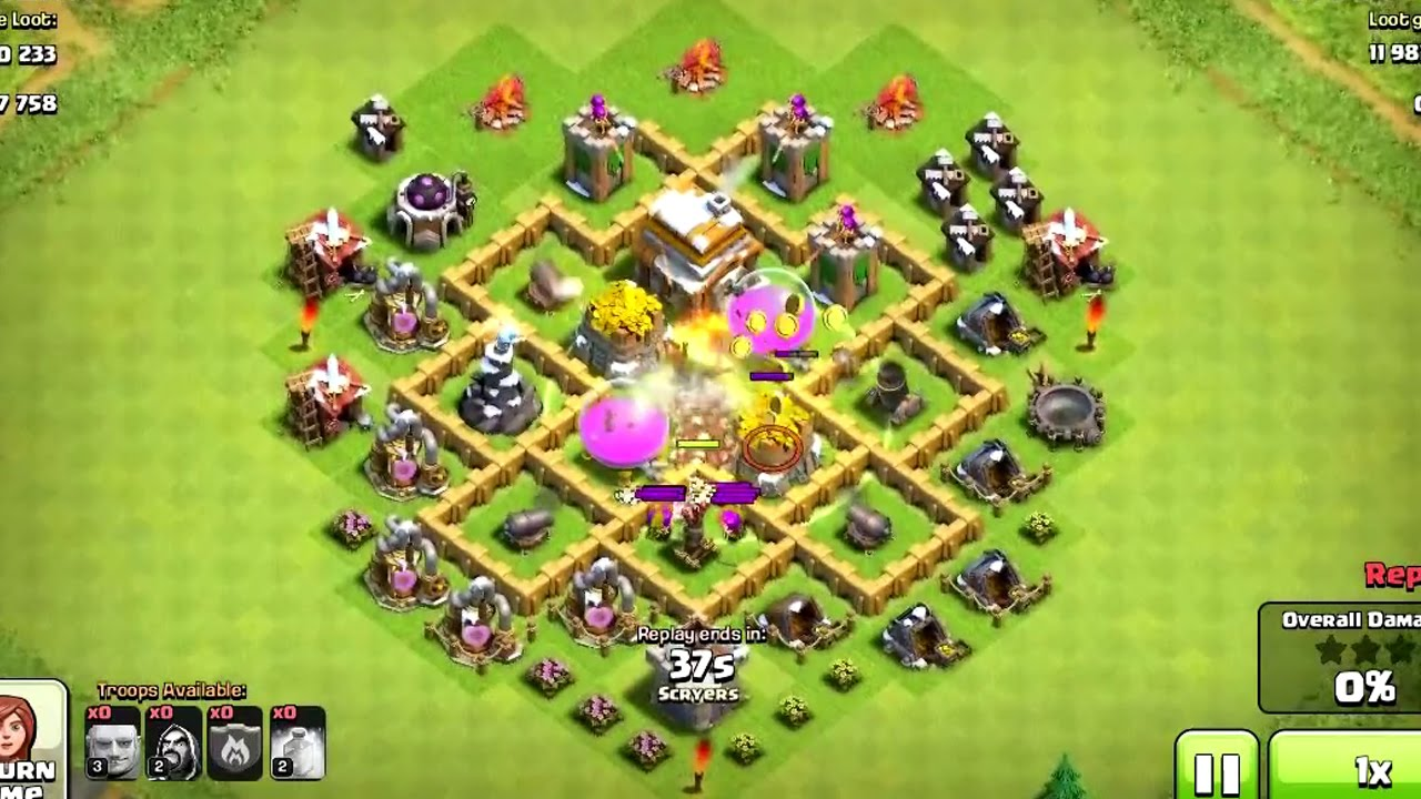clash of clans town hall 5 troll base replays youtube