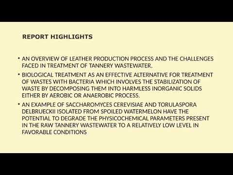 Biological Treatment of Tannery Wastewater