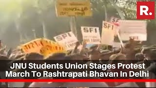 JNU Students Union Stages Protest March To Rashtrapati Bhavan In Delhi Over Hostel Fee Hike
