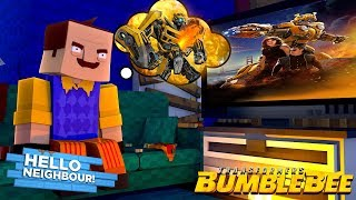 Minecraft - HELLO NEIGHBOUR'S NEW FAVOURITE MOVIE IS TRANSFORMERS BUMBLEBEE!!