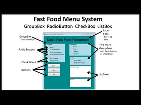Visual Basic Fast Food Menu Program