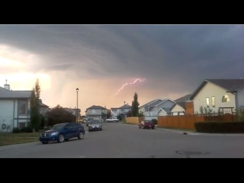 Scary Supercell Thunderstorm. Airdrie, Alberta, Canada. July 3, 2015