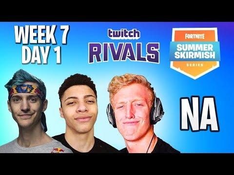 🔴$500k Fortnite Summer Skirmish Week 7 Day 1 [NA] #TwitchRivals NINJA, MYTH, DAEQUAN