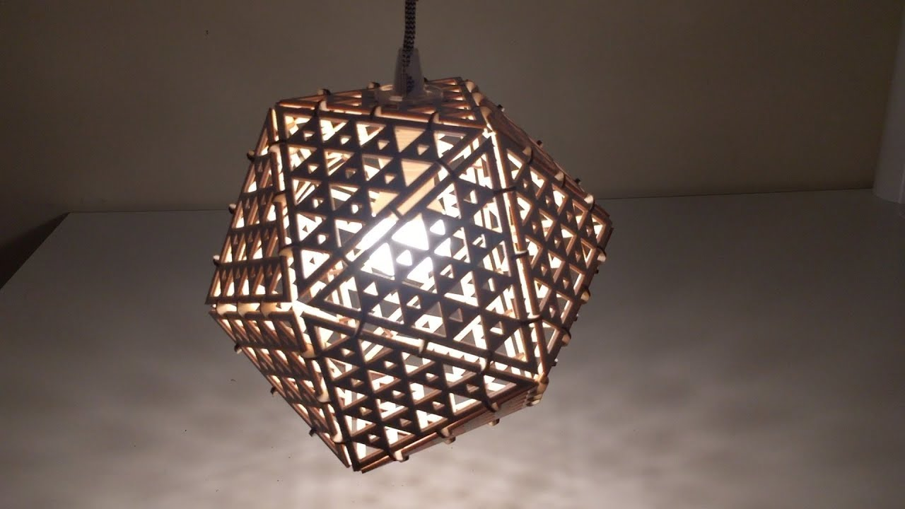 Laser cut icosahedron lampshade from baltic birch plywood youtube laser cut icosahedron lampshade from baltic birch plywood mozeypictures Gallery