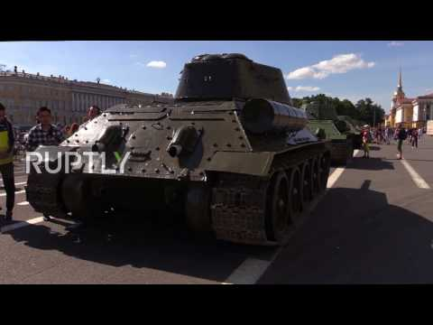Russia: WWII tanks on parade in St. Petersburg to commemorate Siege of Leningrad