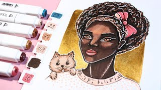 HOW TO DRAW DARK SKIN TONE WITH TOUCH FIVE MARKERS ✔ TUTORIAL