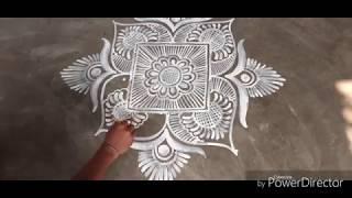 Square Shape Alpona Design / Rangoli / Deepika Das