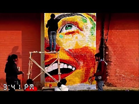 Amazing Street Art Painting 3d pictures (Time lapse) | Happy girl graffiti