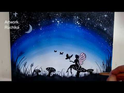 Fairy in Moon Light Painting | Acrylic Painting