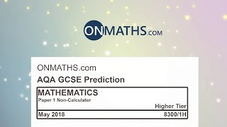 2018 AQA Higher Paper 1 Maths GCSE Predicted Paper Non Calculator Exam 8300/1H May 2018