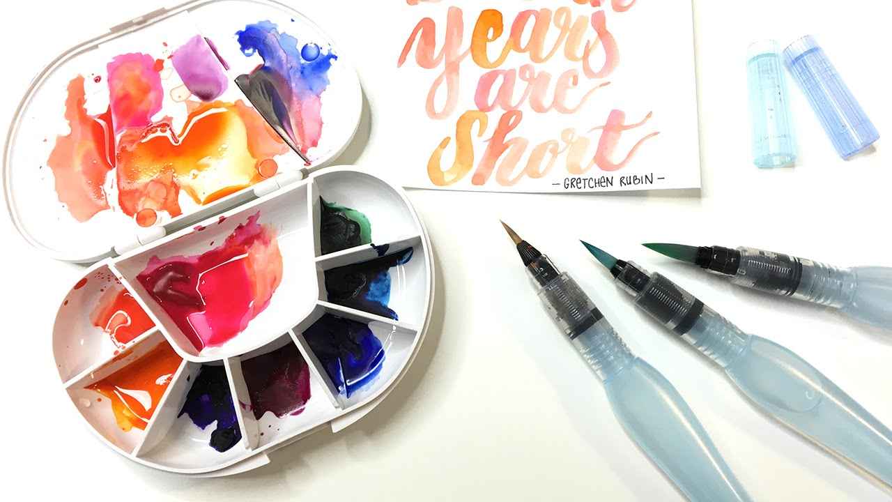 3e35b00ee580 How to use the Pentel Aquash water brush pen for watercolor and brush  lettering - YouTube