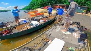 Catching BIGS In SUMMER Jon Boat Bass Fishing Tournament || Deep Water Fishing