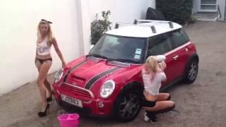 Ice bucket challenge tow hot blondes wash car
