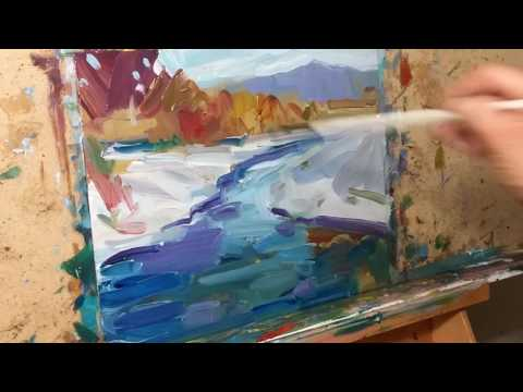 JOSE TRUJILLO Impressionist Oil Painting Demo – Winter Snow Landscape Creek