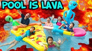 บรีแอนน่า | ลาวาในสระว่ายน้ำมาแล้ว ว่ายน้ำหนีเร็ว! ไม่งั้นโดนเผา! POOL IS LAVA CHALLENGE!!!