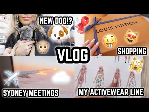 weekly-vlog-🎥-sydney-✈️-new-puppy!?-🐶-my-activewear-designs-😍-new-lv-unboxing-🤩-jaz-hand