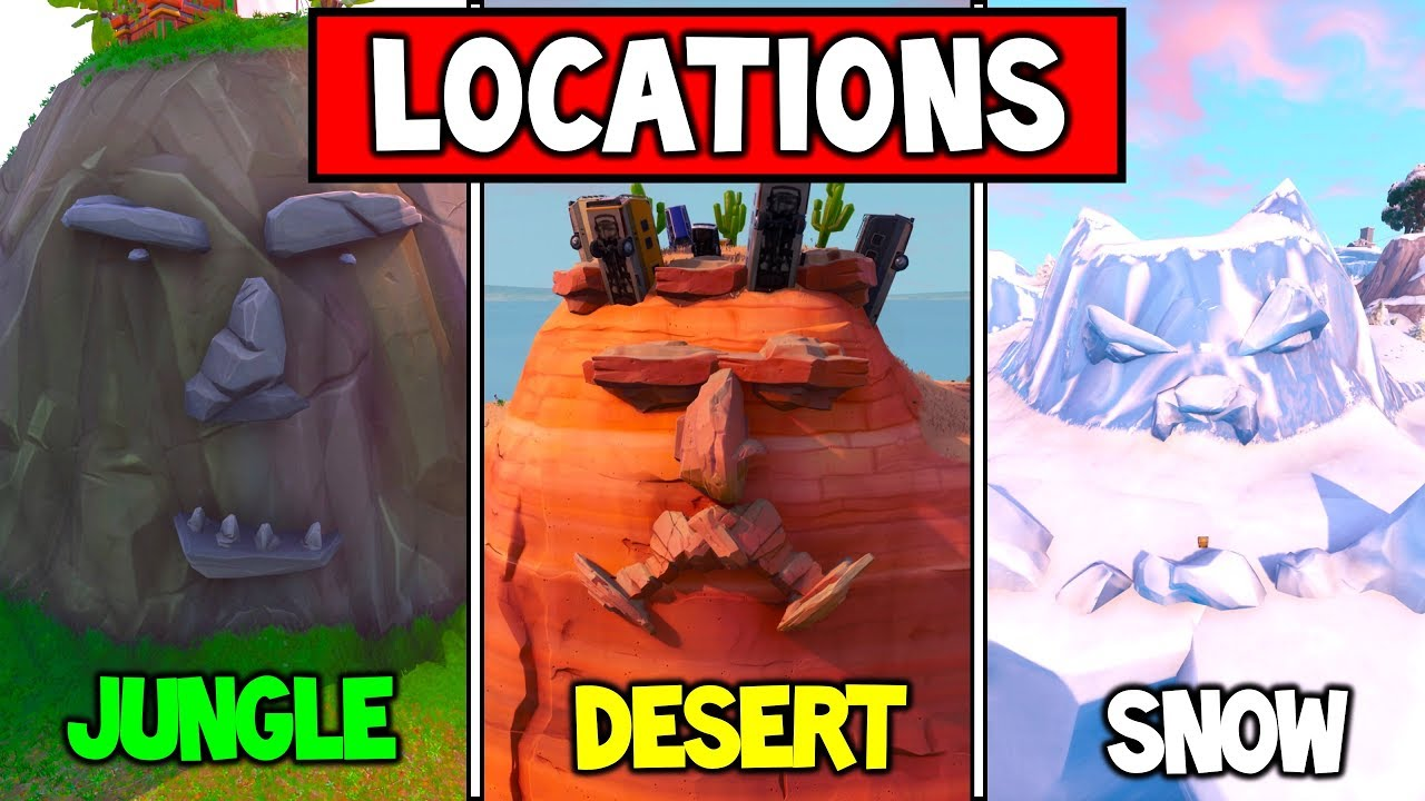 visit a giant face in the desert the jungle and the snow locations fortnite season 8 week 1 - all giant face locations in fortnite