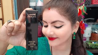 lakme absolute argan oil serum foundation SPF 45 review & demo | skincare with makeup | RARA |