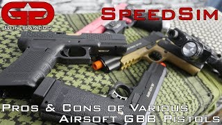 SpeedSim: General Pros and Cons of Various Airsoft GBB Pistols