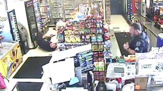 Store Main video of Assault on clerk, customer and officer.