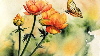 Watercolor Flowers and a Butterfly Painting Demonstration