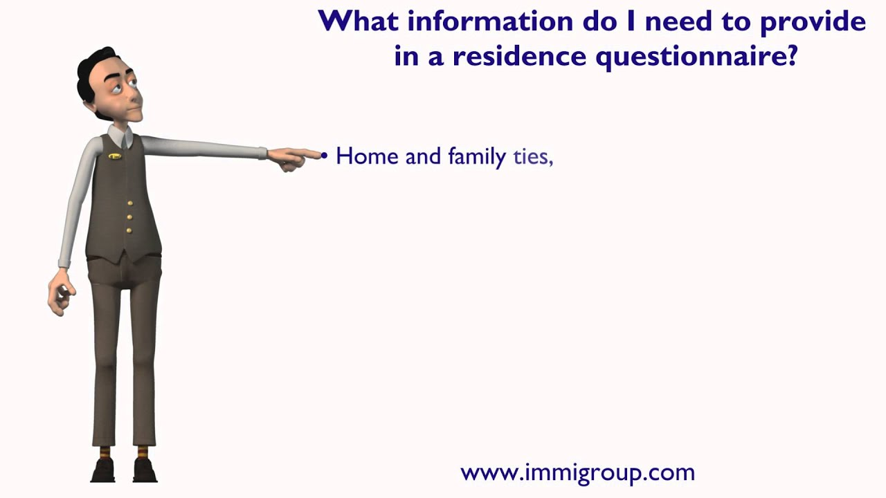 what information do i need to provide in a residence