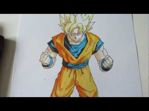How to draw Goku super saiyan 1 SSJ1 孫 悟空 超サイヤ人 1