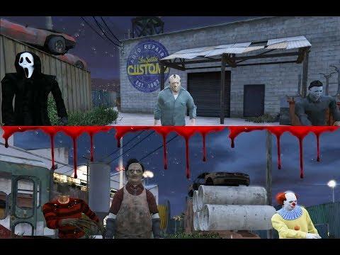 Ghostface , Michael Myers \u0026 Jason Voorhees VS Leatherface , Freddy Krueger \u0026 Pennywise (GTA 5)