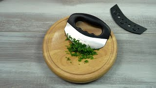 Checkered Chef Mezzaluna Herb Chopper & Cutting Board