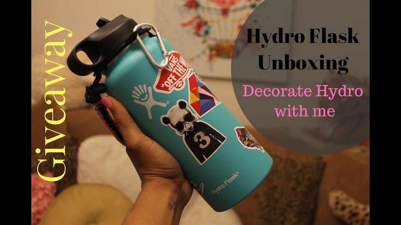 Giveaway hydro flask unboxing decorating with vinyl stickers
