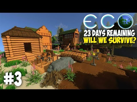 Eco Survival | 23 Days Until Impact - Carpentry And Farming | Huge Community Server! Eco Gameplay