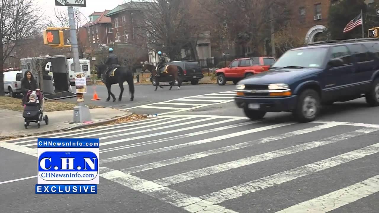 NYPD Horse Patrol On Brooklyn Avenue