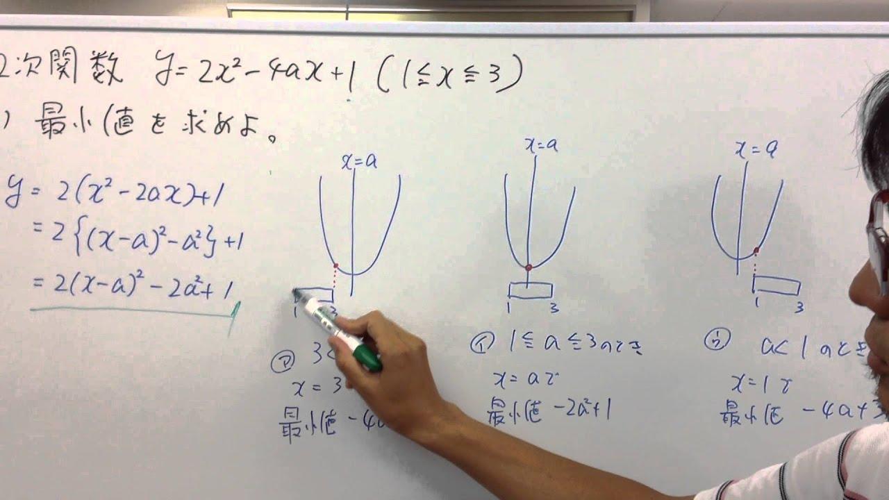 三条高校 数学 2次関数 定義域の中央値 - YouTube