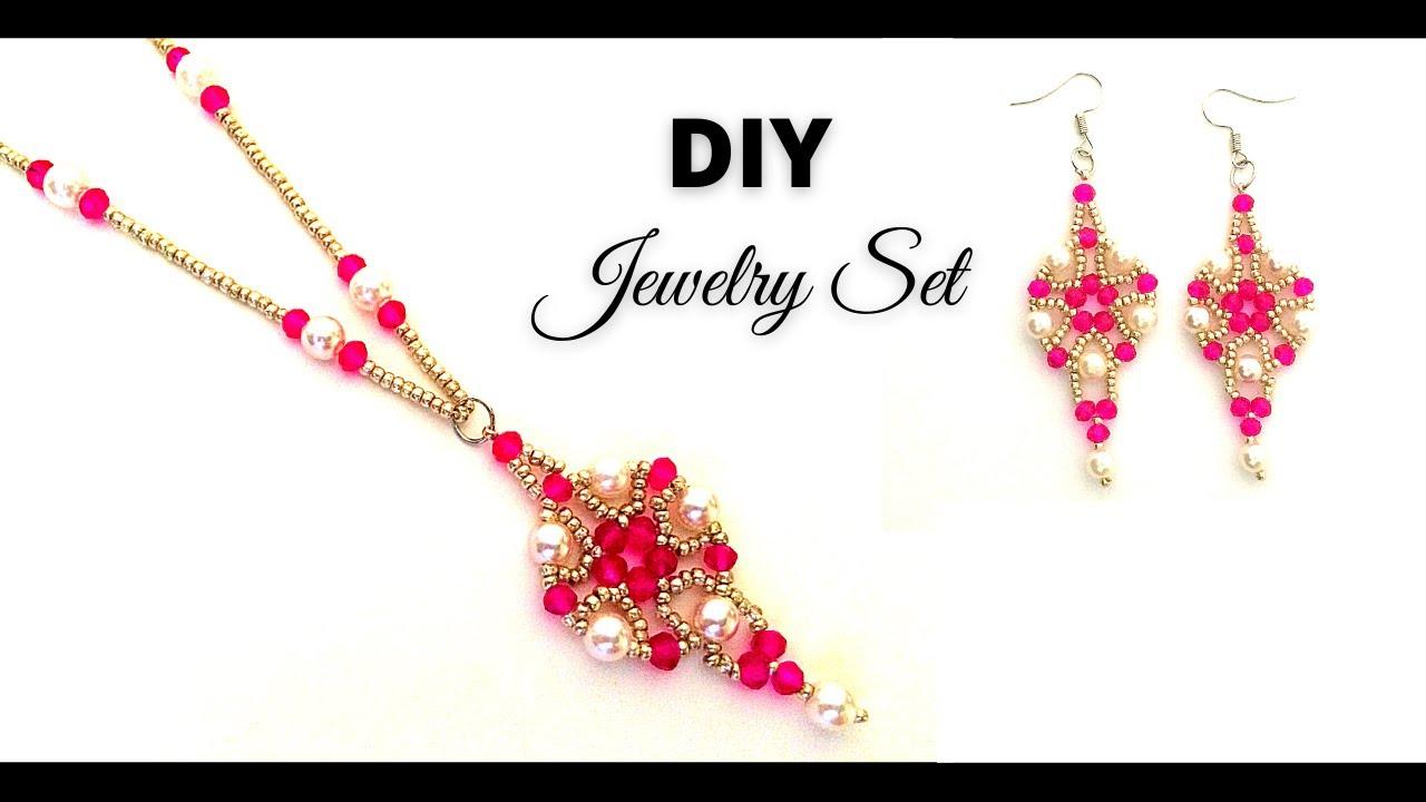 DIY Earrings. DIY Necklace. Beaded Jewelry Making. Beading Tutorial
